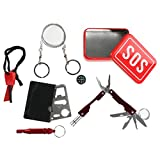 Outdoor Emergency Survival Kit Portable SOS Fist Aid Tools Gear Bundle Set, Multitool Pliers with Flashlight Fire Starter Emergency Whistle Compass Wire Saw Saber Card, 6 in 1 Set Pocket Tool