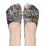 Graphic No Show Socks Women Graffiti Hip-hop Colorful Boat Shoe Loafers Ankle Socks Women