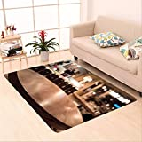 Sophiehome skid Slip rubber back antibacterial Area Rug empty wood table top with blur of people in coffee shop or cafe restaurant background for montage 370297835 Home Decorative