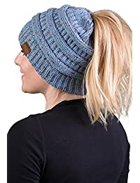 Funky Junque's BeanieTail Womens Ponytail Messy Bun Beanie Multi Color Ribbed Hat Cap