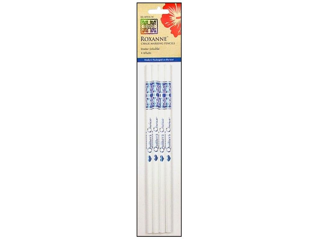 Roxanne Water Soluble Chalk Marking Pencil for Making Light or Dark Fabrics 4 White Roxannes RX-BPEN-W