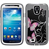 Skin Decal for Otterbox Defender Samsung Galaxy S4 Case - Purple Butterfly on Black