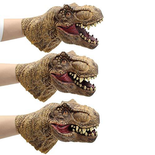 - Yolococa Dinosaur Hand Puppet Toys,Soft Rubber Realistic Raptor Dinosaur Head Tyrannosaurus Rex