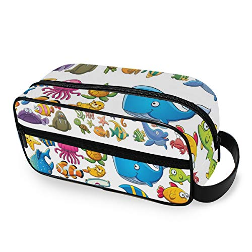 Portable Travel Toiletry Bag,Cute Tropical Fish Cartoons Cosmetic Organizer for Men Women Multifunctional Bathroom Shower Shaving Bags