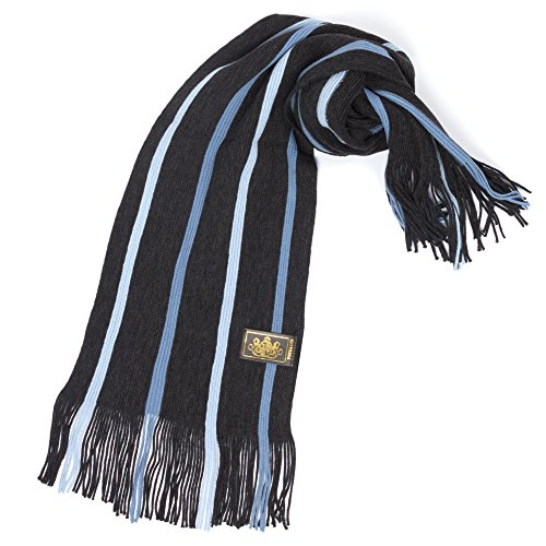 Rio Terra Men's Knitted Scarf, Designer Scarves for Winter Fall Fashion, Striped Blue ()