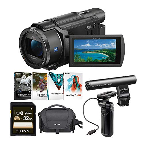 Sony FDR-AX53/B 4K Camcorder with Tripod and Gun Zoom Microphone Bundle (6 Items)