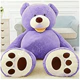 Livingly Light 200cm Huge No Filler Animal Teddy Bear Plush Soft Toy Lavender Purple Valentine's Day Birthday Gift, 6ft 79'' Life-Size, Only Cover, No Cotton, Shell with Zipper