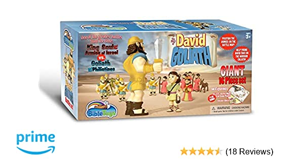bible character figurines david & goliath  piece battle setbibletoys- christian faith based toys