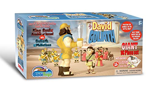 David & Goliath 16 Piece Battle Set by BibleToys- Christian Faith Based Toys (David Was A Man After Gods Own Heart)