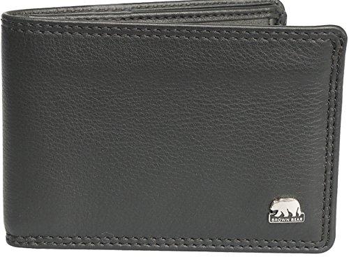 Brown Bear, Mini Geldbörse Herren Leder Farbe schwarz, 6 Fächer, BB CLASSIC 8006B sz