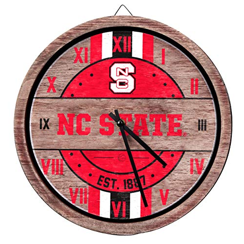 (FOCO NCAA North Carolina State Wolfpack Team Logo Wood Barrel Wall ClockTeam Logo Wood Barrel Wall Clock, Team Color, One Size)