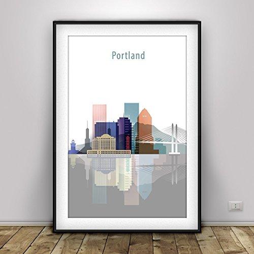 Portland Skyline City Print - Portland Poster, Portland cityscape, Portland Oregon, pastel tonality, Painting,