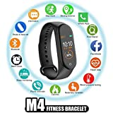 AC Accessories M4 Smart Band Fitness Tracker Watch Heart Rate with Activity Tracker Waterproof Body Functions Like Steps Counter, Calorie Counter, Blood Pressure, Heart Rate Monitor OLED Touchscreen