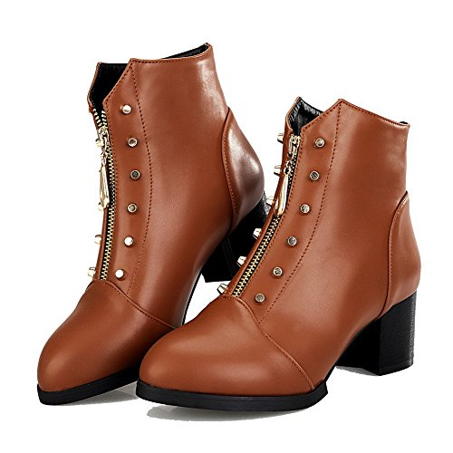 PU Zipper Allhqfashion Solid Boots Kitten Top Brown Women's Heels Low a7qBIZqW