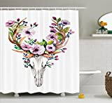 Pink Animal Print Shower Curtain Ambesonne Skulls Decorations Collection, Deer Animal Skull with Floral Horns Nature Inspired Dead and Living Art Print, Polyester Fabric Bathroom Shower Curtain, 84 Inches Extra Long, Cream Pink Brown