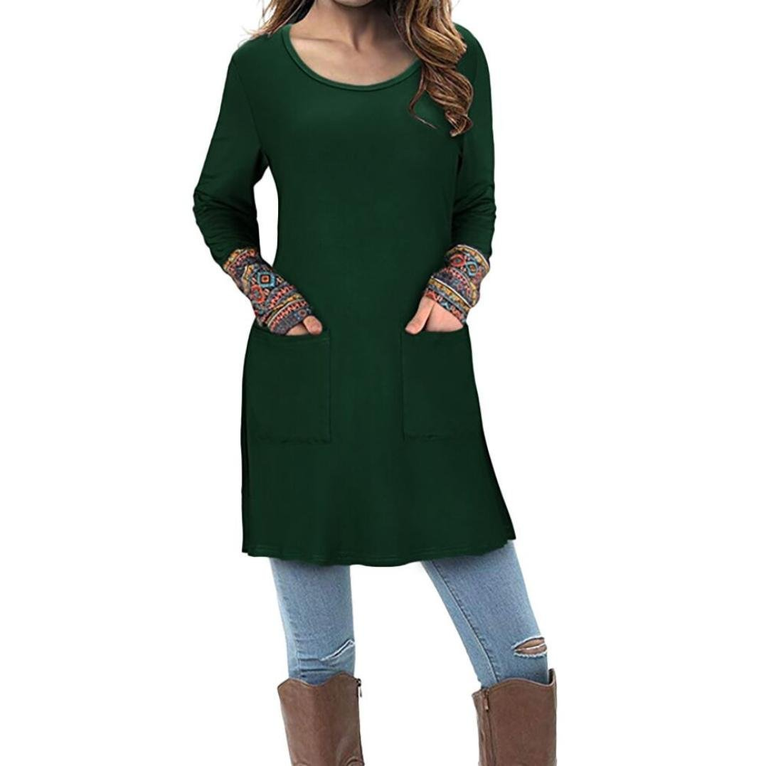 Orangeskycn Women Fashion Long Sleeve Pocket Printed Patchwork Pullover Tops Autumn Winter