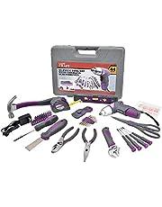Powerland Kit d'outils de réparation à domicile 44 pièces avec poignées ergonomiques, mauve