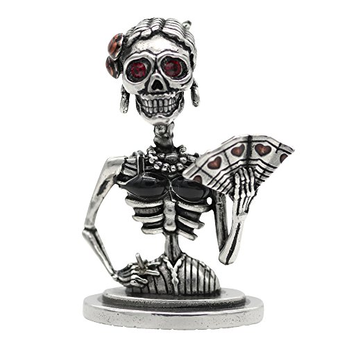 (Controse Silver-Toned Stainless Steel Lady de Muerte - Skeleton Statue)