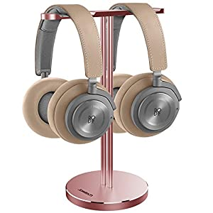 Jokitech Aluminum Double Heavy Headphone Stander Holder, Suitable for BeoPlay, B&O, Beats, Sennheiser, Sony, Audio-Technica, Bose, Shure, AKG, JBL, Logitech, Razer Gaming DJ Headphones Rack-RoseGold