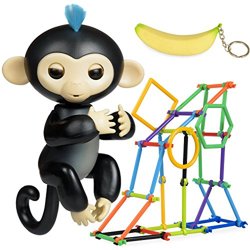 Finger Monkey Interactive Toy   Finn   Accessories Bonus  Baby Monkey Jungle Gym Playset 50 Pieces   Banana Squishy Keychain   Christmas Gift For Girls   Boys