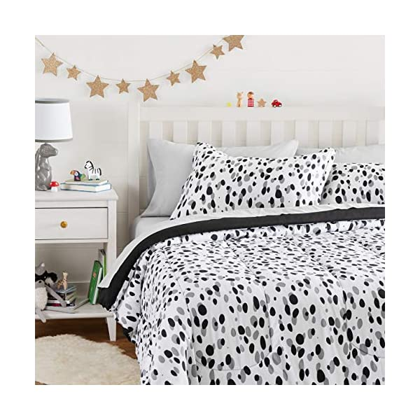 AmazonBasics Easy Care Super Soft Microfiber Kid's Bed-in-a-Bag Bedding Set - Full / Queen, Black Shadow Dots 6