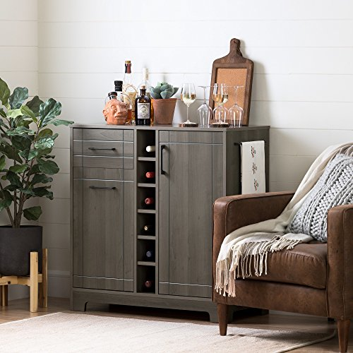 Gray Locking Storage Cabinet - South Shore Bar Cabinet with Bottle and Glass Storage, Gray Maple