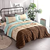 YOUSA 3-Piece Floral Quilts Striped Comfoter Bedding Sets Boys and Girls Bedspread (Aqua Blue-Floral)