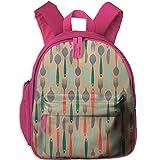 Children's School Bags Green Spoons And Forks Anti-pressure Backpacks Book Bag