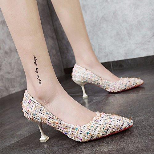 Xue Qiqi Tipp fein mit mit mit High Heels Schuhe mit hellen Nähten Schuhe weiblich 34 beige 7 cm ffed1d