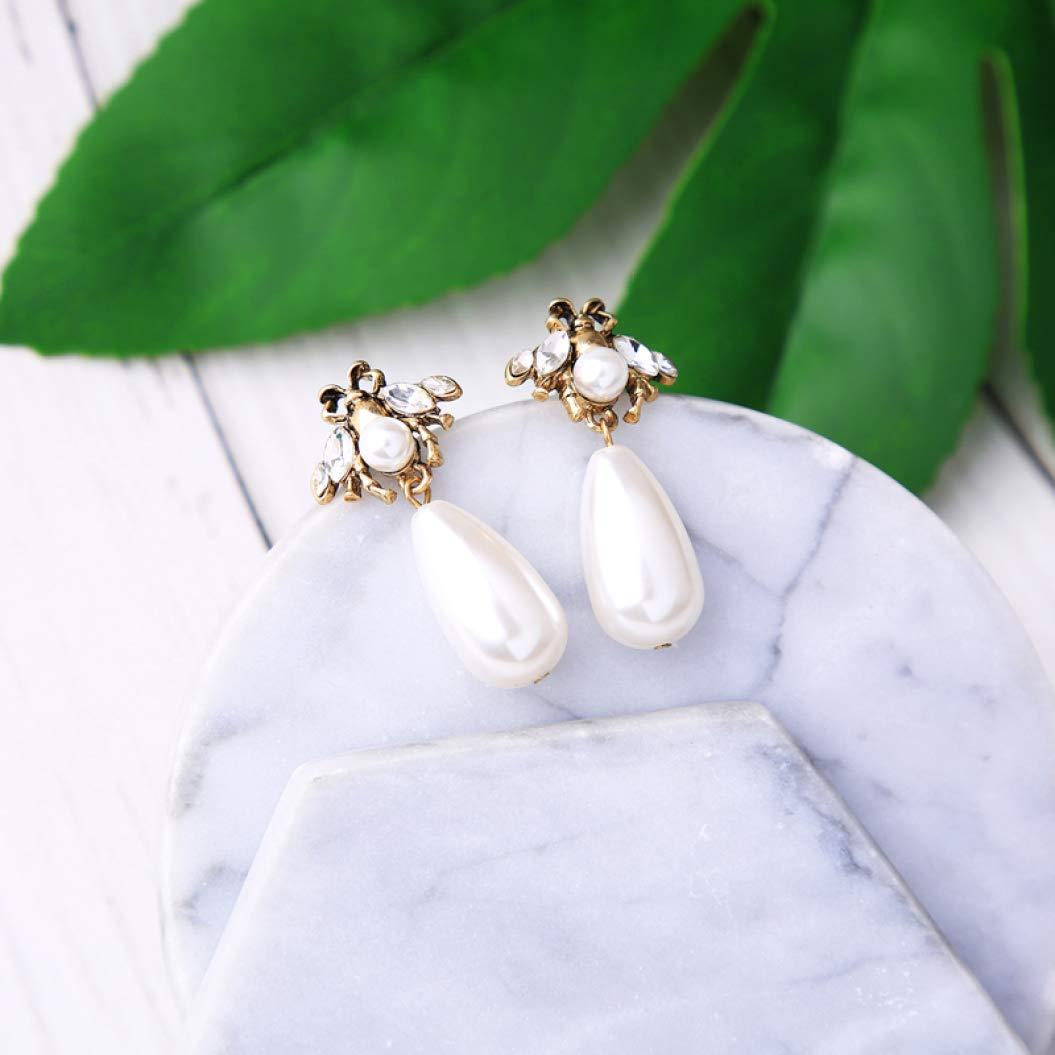 Jewelry Vintage Simulated Pearl Bee Earring Elegant Earring Party Earring