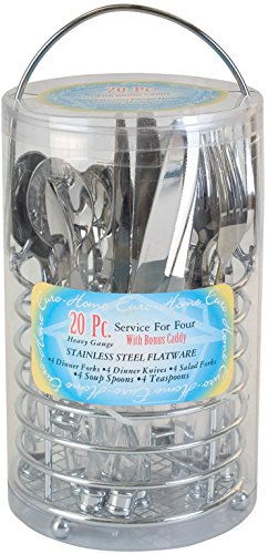 EuroHome 20 Piece Cutlery Set in Chrome Caddy Case Pack 12, NEW