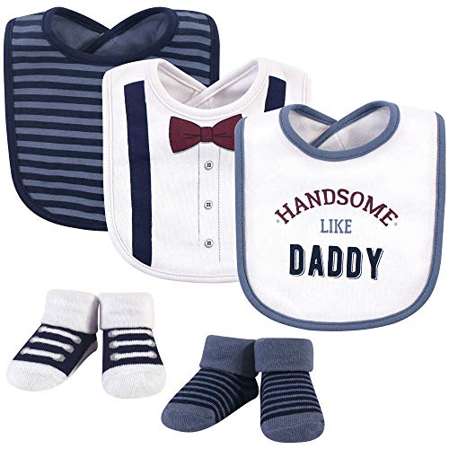 Little Treasure Unisex Baby Cotton Bib and Sock Set, Handsome Daddy, One Size