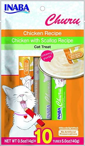 Churu Chicken Lickable Creamy Purée Cat Treats 2 flavor Variety Pack of 10 Tubes