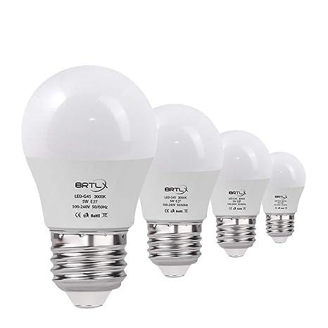 Bombilla LED Esférica Casquillo E27, 5 W, Equivalencia 45 W, Blanco Cálido 3000K, 400 Lúmenes, no Regulable, Pack de 4 Unidades