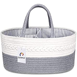 Conthfut Baby Diaper Caddy Organizer 100% Cotton Canvas Stylish Rope Nursery Storage Bin Portable Tote Bag & Car Organizer with Removable Inserts - Top Baby Shower Basket