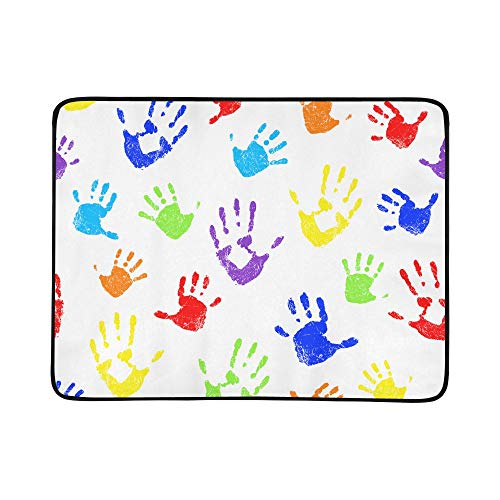 LIANPEN Lovely Colorful Hand Prints Pattern Portable and Foldable Blanket Mat 60x78 Inch Handy Mat for Camping Picnic Beach Indoor Outdoor Travel ()