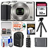 Nikon Coolpix Digital Camera (Silver) with 32GB Card + Tripod Kit (Certified Refurbished)