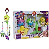 Funnytool 5 Pcs Lovely Colourful Musical Hanging Rattle Toys with Hanging Cartoons for Toddlers/Babies/Infants/New-Borns (Multi Color)