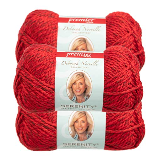 Premier Yarns (3 Pack Deborah Norville Serenity 100% Acrylic Soft Flame Heather Red Yarn for Knitting Crocheting Chunky #5
