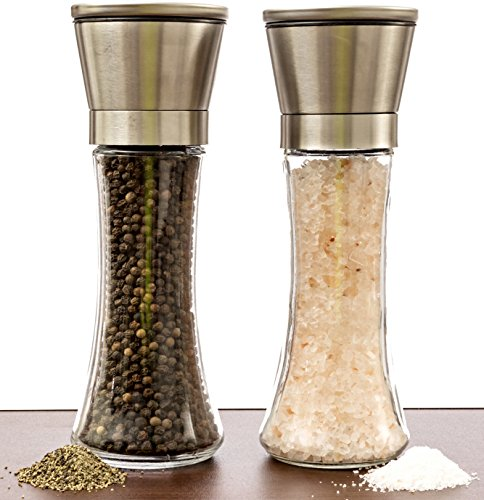 Salt And Pepper Grinder Set - A Dual Set Of Combo Grinders For Salt & Pepper Made Of Thick Glass Combined With Stainless Steel Top - Salt & Pepper Mill Pair , Salt And Pepper Shakers (Salt And Pepper Grinder Set Glass compare prices)