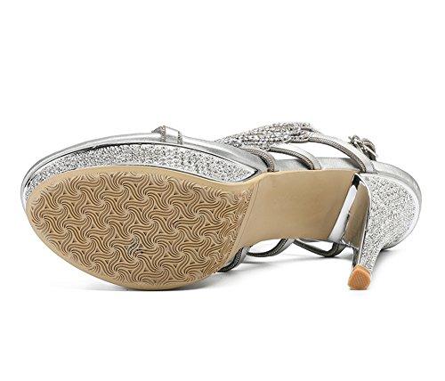 Strappy Prom ZPL Tamaño Heel Zapatos Low imitación Silver Mujeres Diamante Sandalias Prom Mid real de Party pavo Señoras High OwYw4R1q