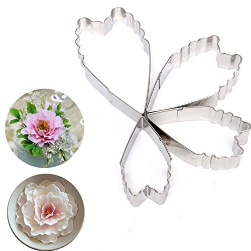 1 Set 4pcs/lot Heart Peony Flower Silicone Mold Fondant Cake Decorating Tools Sugarcraft Biscuit Cookie Cutter Mould Cooking Tool A707