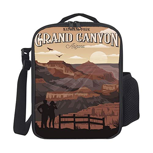 Grand Canyon Vintage Travel Poster USA Arizona Personality Insulated Lunch Tote Bag Reusable Large Cooler Bag Travel Handbag Picnic Tote Bag with with Zipper