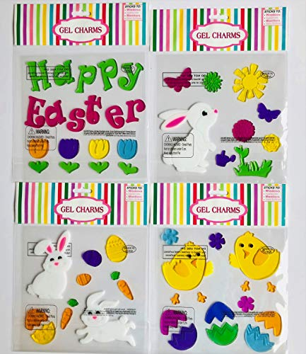 Spring Happy Easter Holiday Gel Clings Bunnies Chicks Eggs Flowers Window Charms Decoration