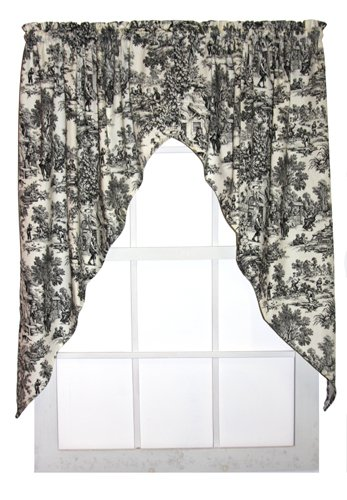 Window Toppers Victoria Park Toile Print Swags Jabot Curtains Pair 68 Inch By 63 Inch Black
