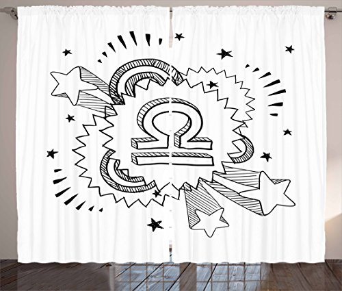 Zodiac Libra Curtains by Lunarable, Sixties Seventies Inspirations with Sketch Astrology Symbol and Stars, Living Room Bedroom Window Drapes 2 Panel Set, 108 W X 96 L Inches, Black and - Inspiration Fashion 70s