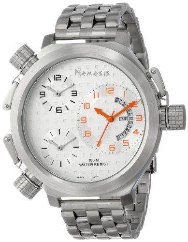 Nemesis Men's ST080S Signature Collection 3-TimeZone Orange Silver Metal Band Watch