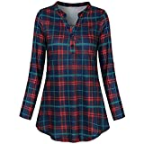 Deals Pullover Tops BeautyVan Women's Split V Neck Long Sleve Casual Plaid Tunic Blouses Shirts Red