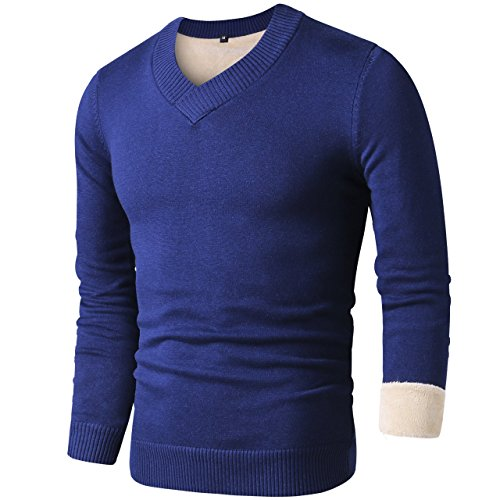 LTIFONE Mens Slim Comfortably Knitted Long Sleeve V-Neck Sweaters with Fleece(Blue with Fleece,L) - Fleece V-neck Sweater