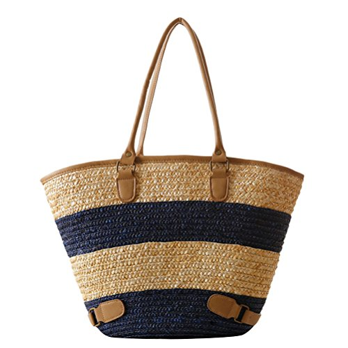 Striped Style blue Capacity Large Quality Womens Bag Straw Zhuhaitf PU Bags Hot Beach High ventes Simple Woven qwnZnUvg